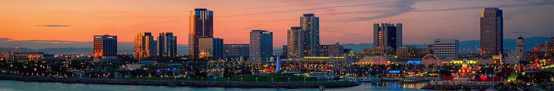 The coastline of Long Beach, California